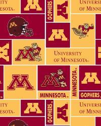 College Fleece Fabric  Minnesota Golden Gophers Block Fleece