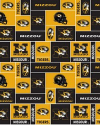 College Fleece Fabric  Missouri Tigers Block Fleece