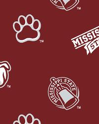 Beige College Fleece Fabric  Mississippi State Bulldogs Fleece
