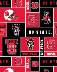 Beige College Fleece Fabric  North Carolina State Wolfpack Block Fleece
