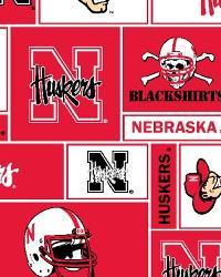 College Fleece Fabric  Nebraska Cornhuskers Block Fleece