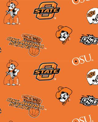 Beige College Fleece Fabric  Oklahoma State Cowboys Fleece