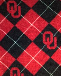Beige College Fleece Fabric  Oklahoma Sooners Argyle Fleece