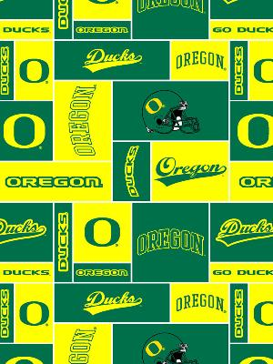 Beige College Fleece Fabric  Oregon Ducks Block Fleece