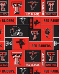 Beige College Fleece Fabric  Texas Tech Red Raiders Block Fleece