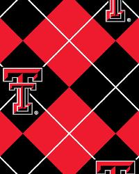 College Fleece Fabric  Texas Tech Red Raiders Argyle Fleece