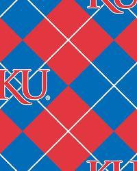 College Fleece Fabric  Kansas Jayhawks Argyle Fleece