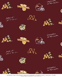 Beige College Fleece Fabric  Minnesota Golden Gophers Fleece
