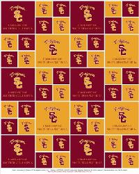 Beige College Fleece Fabric  Southern California Trojans Fleece