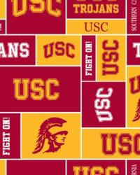 College Fleece Fabric  Southern California Trojans Block Fleece