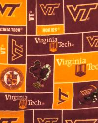 College Fleece Fabric  Virginia Tech Hokies Block Fleece