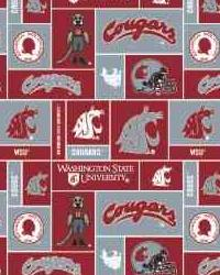 Beige College Fleece Fabric  Washington State Cougars Block Fleece