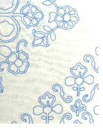 Blue Floral Diamond Fabric  MOSAIC EMBROIDERY LB50092 660