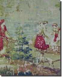 Multi French Country Toile Fabric  Colonial Subtle
