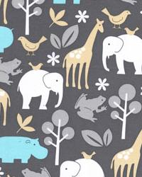 Beige Jungle Safari Fabric  Zoology Sea