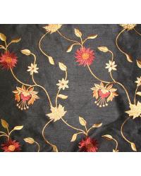 Black Medium Print Floral Fabric  Bloom Black