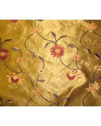 Brown Medium Print Floral Fabric  Bloom Dark Gold
