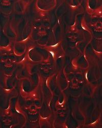 Skulls on Fire Red by