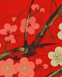 Beige Oriental Fabric  Golden Garden Red
