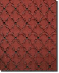 Catania Silks Quilted Embroidery black On Ruby Fabric