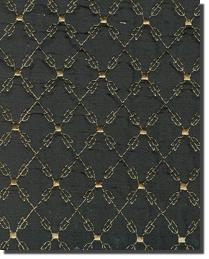 Catania Silks Quilted Embroidery Silk Gold On Black Fabric