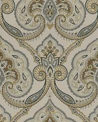 Beige Jacobean Fabrics  Kashmiri 118 Sandstone