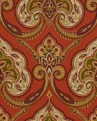 Red Jacobean Fabrics  Kashmiri 389 Moroccan Red