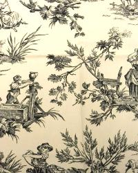 Beige French Country Toile Fabric  M Musee 916 Ebony Ivory