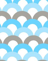 Circles and Swirls Fabric  Bunny Ears Blue/Gray Cotton