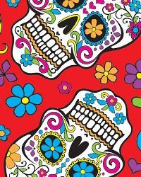 David Textiles Folkloric Skulls Fleece Red Fabric