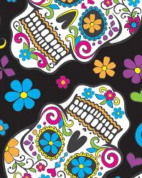 David Textiles Folkloric Skulls Fleece Black Fabric