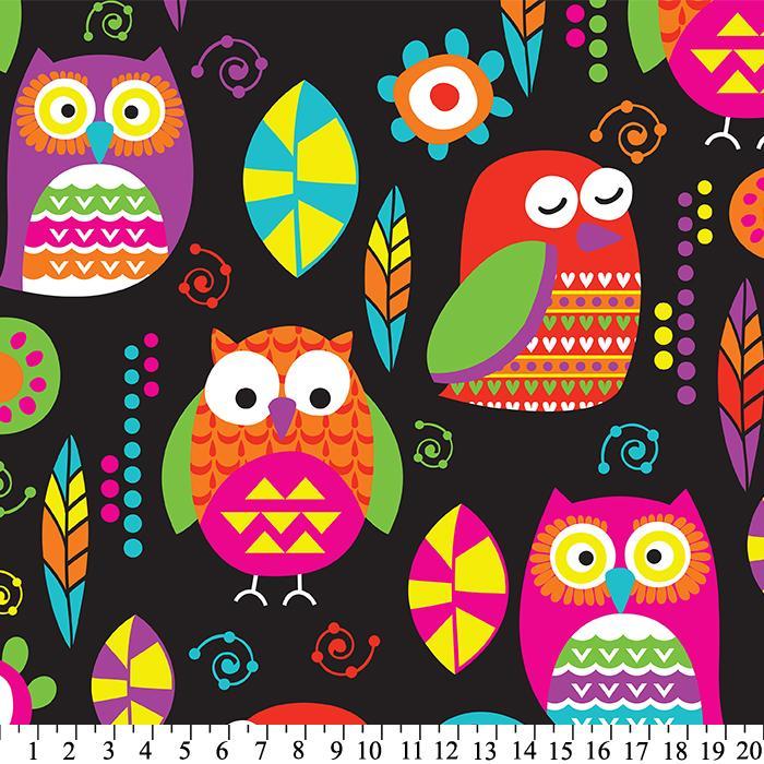Vibrant owlies plush for Celestial fleece fabric