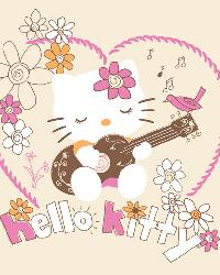 David Textiles Hello Kitty and Guitar Panel Fabric