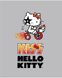 Hello Kitty Bicycle Gray Anti-Pill Fleece Panel by