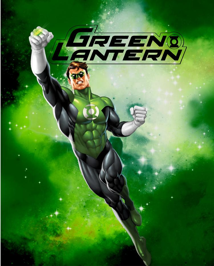 Green lantern in space anti pill fleece panel for Space fleece fabric