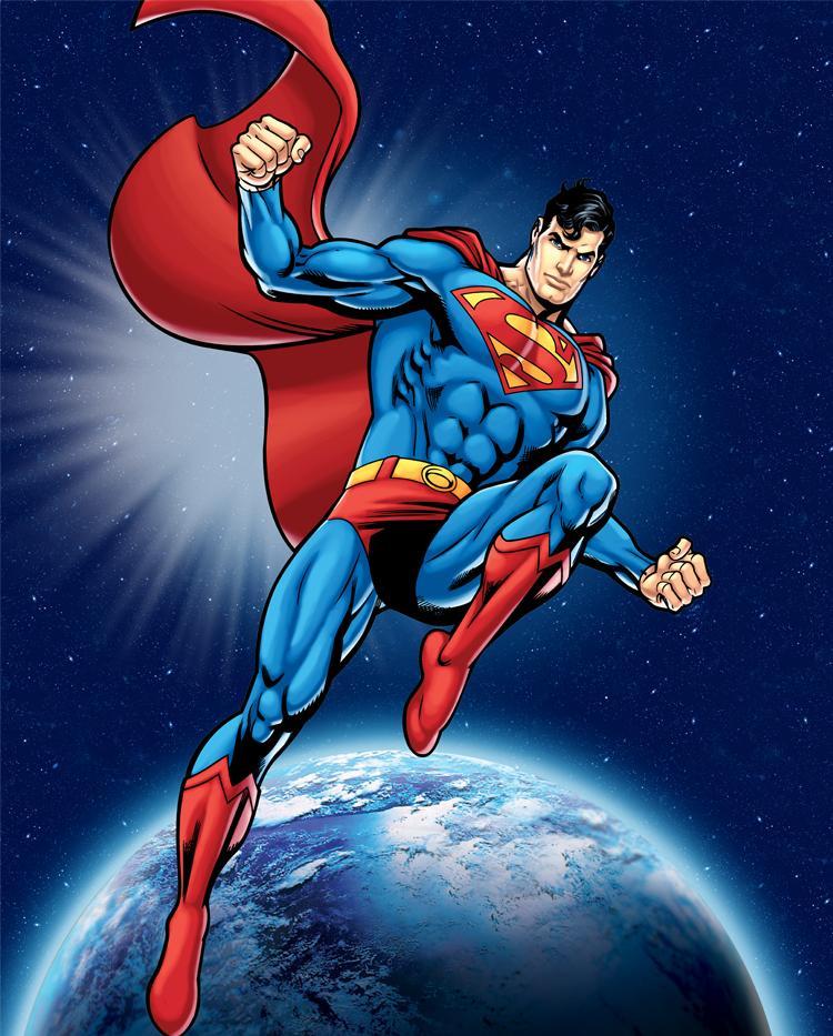 Superman in space fleece panel for Spaceship fleece fabric