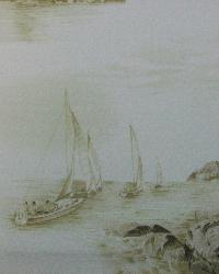 Beige Boats and Sailing Fabric  112845 Driftwood