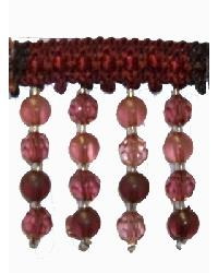 202115 Crimson - Braid with Frosted and Acrylic Beads by  Fabricade Trim