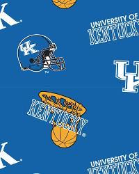 Kentucky Wildcats Cotton Print - Blue by