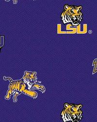 Beige College Cotton Print Fabric  Louisiana State Tigers Cotton Print - Purple