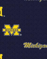 College Cotton Print Fabric  Michigan Wolverines Cotton Print - Blue