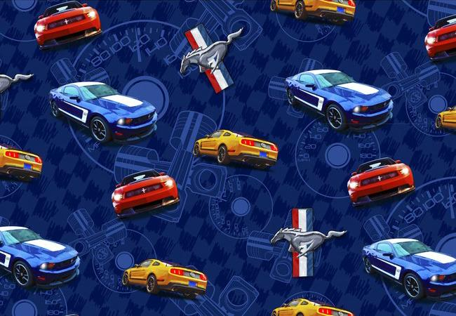 Foust Textiles Inc Ford Mustang Blue Cotton Print Fabric