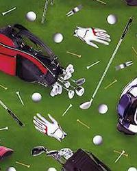 Golf Green Cotton Print by