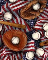 Baseball Multi Cotton Print by