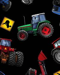 In Motion Tractors Black Cotton Print by
