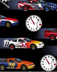 In Motion Race Cars Black Cotton Print by