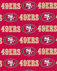 San Francisco 49ers Red Cotton Print by