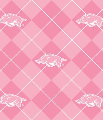 Textiles Inc Pink Arkansas Razorbacks Argyle Fleece Discount Fabric