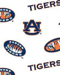 Auburn Tigers Cotton Print - White by
