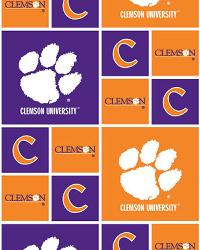 Clemson Tigers Block Cotton Print by